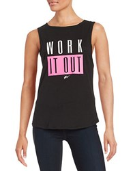 Betsey Johnson Text Graphic Tank Black Pink