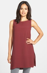 Eileen Fisher Bateau Neck Long Silk Shell Regular And Petite Passion Flower