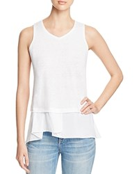 Red Haute Asymmetric Layered Look Tank White