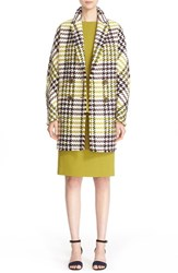 Lafayette 148 New York Women's 'Katelyn' Leather Trim Wool Blend Check Coat