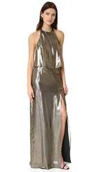 Halston Halter Neck Metallic Gown Antique Brass