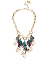 Betsey Johnson Two Tone Pave Butterfly Wing Statement Necklace Gold
