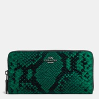 Coach Accordion Zip Wallet In Python Embossed Leather Silver Forest