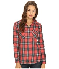 Billabong Flannel Frenzy Top Rad Red Women's Long Sleeve Button Up