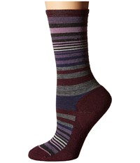 Smartwool Jovian Stripe Light Gray Aubergine Women's Crew Cut Socks Shoes Multi