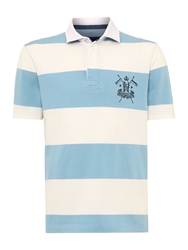 Howick California Block Stripe Short Sleeve Rugby Sky