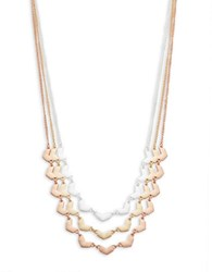 Design Lab Lord And Taylor Tri Tone Nested Tiered Necklace Mixed Metal