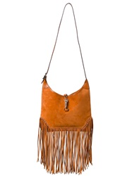 Hermes Vintage Medium Fringed Shoulder Bag Yellow And Orange