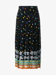 Gucci Bow Print Silk Pleated Skirt Black Multi Coloured Silver White