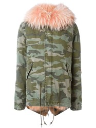 Mr And Mrs Italy Hooeded Camouflage Print Parka Green