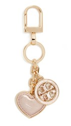 Tory Burch Logo And Heart Keyfob Rose Gold