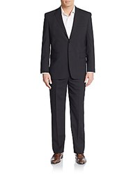 Yves Saint Laurent Regular Fit Wool Windowpane Two Button Suit Navy