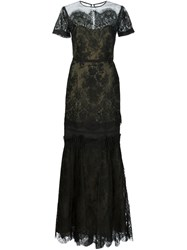 Carolina Herrera Two Tone Organza Gown Black