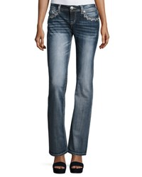 Lenox Embroidered Boot Cut Denim Jeans Med Blue