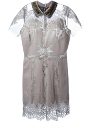 Valentino Feather Collar Lace Panel Dress Grey