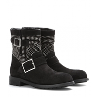 Jimmy Choo Youth Studded Suede Biker Boots Black Silver