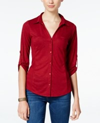 Almost Famous Juniors' Ribbed Panel Utility Top Burgundy