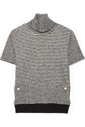 Band Of Outsiders Striped Cotton Blend Sweater Blue