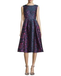 Talbot Runhof Locomotion Sleeveless Brocade Scoop Back Dress Purple