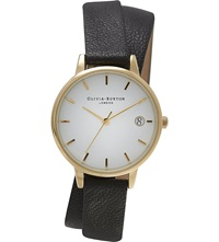 Olivia Burton Ob14wf05 The Dandy Wrap Gold Plated And Leather Watch White