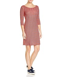 Three Dots British Chevron Stripe Dress Night Iris Poppy Coral