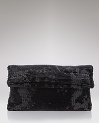 Sondra Roberts Bugle Beaded Fold Over Clutch Black