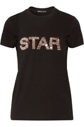 Markus Lupfer Kate Sequined Cotton T Shirt Black