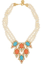Ben Amun Gold Plated Faux Pearl Crystal Coral And Turquoise Necklace