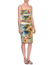 Dolce And Gabbana Sorrento Sleeveless Ruched Tank Dress Yellow Blue Multi Yellow Blue Multi