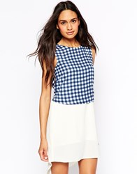 Jovonna Dress With Gingham Overlay Gingham