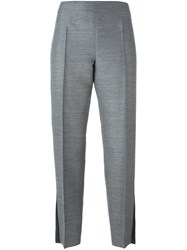 Calvin Klein Collection Pleated Cropped Trousers Grey