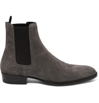 Saint Laurent Suede Chelsea Boots Gray