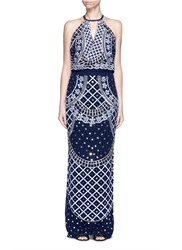 Temperley London 'Kekipi' Star Embellished Silk Halter Dress Blue