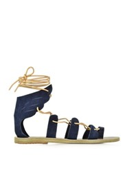 Ancient Greek Sandals Fteroti Dark Blue Suede Flat Sandal