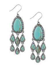 Lucky Brand Pave Peacock Semi Precious Reconstituted Calcite Silvertone Chandelier Earrings Turquoise