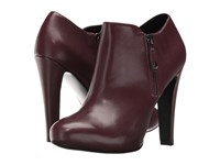 Nine West Binnie Wine Leather Women's Zip Boots Burgundy
