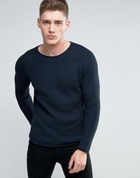 Lindbergh Jumper With Loose Knit In Navy Dk Blue