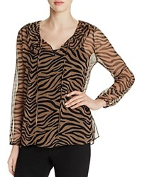 Kobi Halperin Antonia Tiger Print Silk Peasant Blouse Walnut Multi