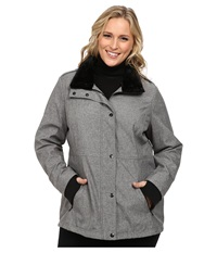 Jessica Simpson Plus Size Zip Front Soft Shell With Faux Fur Heather Grey Women's Clothing Gray