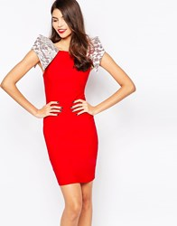 Vesper Rogue Midi Dress With Lace Shoulder Detail Red