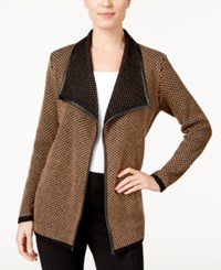 Jm Collection Contrast Trim Open Front Cardigan Only At Macy's Willow Brown