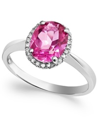 Macy's 14K White Gold Pink Topaz 2 Ct. T.W. And Diamond Accent Ring