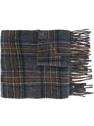 Polo Ralph Lauren Plaid Knit Scarf Grey