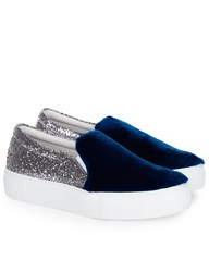 Joshua Sanders Silver Glitter And Fur Slip On Sneakers Blue