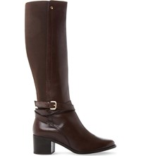 Dune Vivv Stretch Panel Knee High Leather Boots Brown Leather
