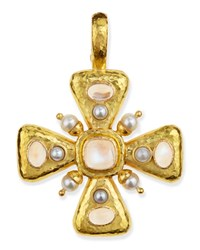 Moonstone And Pearl Maltese Cross Pendant Elizabeth Locke White