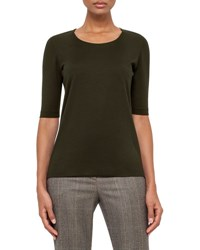 Akris Half Sleeve Silk Jersey Top Turtle
