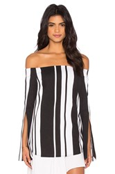 By Johnny Veritgo Cape Stripe Top Black And White
