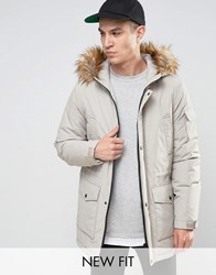 Asos Parka Jacket With Faux Fur Trim In Stone Stone