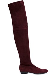 Robert Clergerie Thigh Length Low Boots Pink And Purple